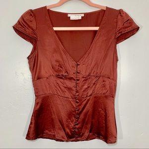 To The Max | Rusty Copper Silk V-Neck Blouse